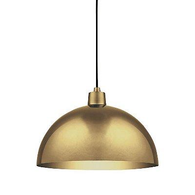 PENDENTE Klaxon Iluminação PRADO Meia Esfera Vertical Dourado Dia. 40 40 cm x 25 cm x 40 cm
