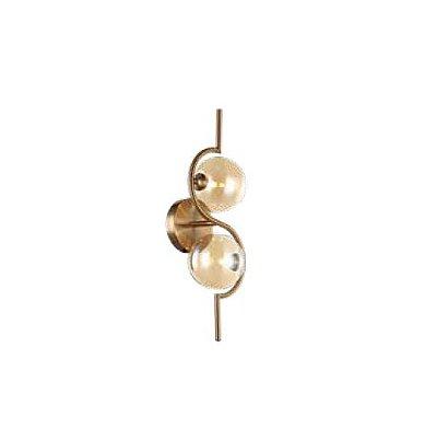 ARANDELA QUALITY NEWLINE AR1346 VIDRO METAL Redondo Moderno Bola 17 x 22 x A50 CM 2XG9 Dourado Ambar
