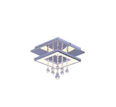 PLAFON QUALITY NEWLINE QPL1336G METAL LED Quadrado Suspenso Cristal Espelhado 45 x 45 x A28 cm 18W 3000K