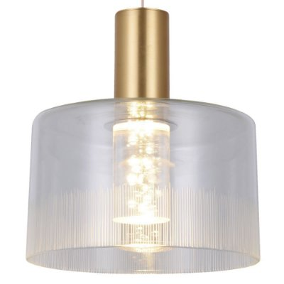 PENDENTE Bella Ilumy BB005G POTI Pendurado Redondo Cupula de Vidro Dourado Transparente 20cm x 22cm  1 x LED 5W FRENCH