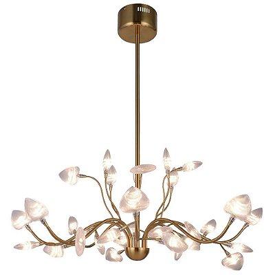 PENDENTE Bella Ilumy BB009S TSUKI Braços Led Floral  Bronze Transparente 82cm x 40cm  32 x LED 48W