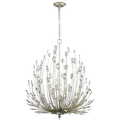 PENDENTE Bella Ilumy BO011 LORE Candelabro Floral  Prata Envelecido Transparente 69cm x 65cm  9 x E14 40W