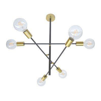 PENDENTE Bella Ilumy EY001 ARES Hastes Moderdo Filamento Dourado Preto 58,5cmx52,5cmx63cm  6xE27 BIVOLT