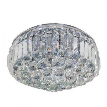 PLAFON Bella Ilumy KRI HU1103 Cristal Lapidado Cromado Transparente 40cm x 24cm  5xG9 BIVOLT