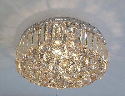 PLAFON Bella Ilumy KRI HU1104 Cristal Lapidado Cromado Transparente 54cm x 26cm  9xG9 BIVOLT