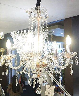 PENDENTE Bella Ilumy JF305 TYENE Candelabro Braços Maria Tereza Rose Transparente 54cm x 63cm  5xE14 BIVOLT