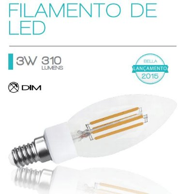 LAMPADA Bella Ilumy FILAMENTO DE LED E14 3W 127V LP126A