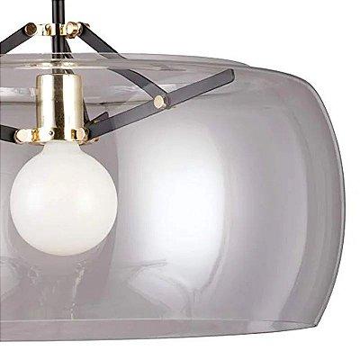 PENDENTE Bella Ilumy RE004BC NOBU Cupula Redonda Vidro Preto Dourado Transparente 40cm x 31cm  1 x A60 40W
