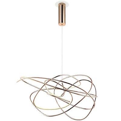 PENDENTE Bella Ilumy WD017L NINHO Aros Moderno Em Led ROSE GOLD 62cm x 44cm  1 x LED 36W