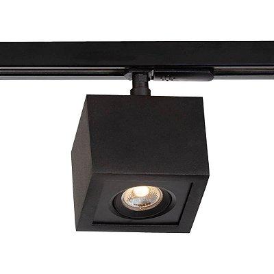 Spot Trilho Newline NLN 560AP BOX LED Quadrado Clean 3W 3000K Luz Quente 225LM 127/220V 90X90X114MM ADAPTADOR PRETO