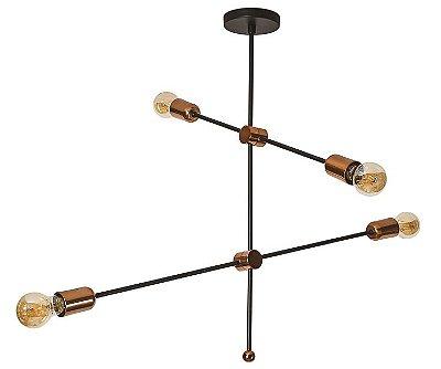 PENDENTE BÁLTICO 16500/4 Usina Iluminação  Moderno Filamento x Ø84X67X1m x 4 - E27