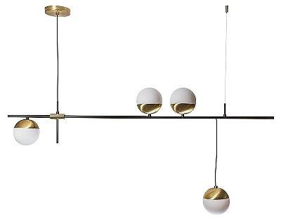 PENDENTE BILLE Usina Iluminação 16575/4 4 Moderno Haste GLOBOS DE VIDRO Ø12cm x 12x49x1m x 4 G9