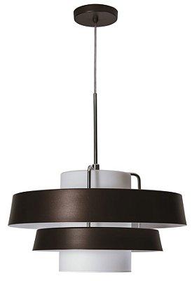 PENDENTE DIVÃ  16590/45 Usina Iluminação Redondo 3 Aros Moderno HASTE 185mm x Ø46x25X1m x 01 - E27
