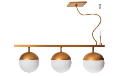 PENDENTE GUDE 3 16565/3 Usina Iluminação Moderno Haste Triplo Com GLOBOS DE VIDRO Ø12cm x 12x50x23 x 1m Cabo x 03 - G9