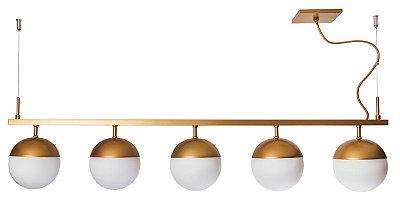 PENDENTE GUDE 5 16565/5 Usina Iluminação Moderno Haste Com 5 GLOBOS DE VIDRO Ø12cm x 12x1mx23 x 1m Cabo x 05 - G9