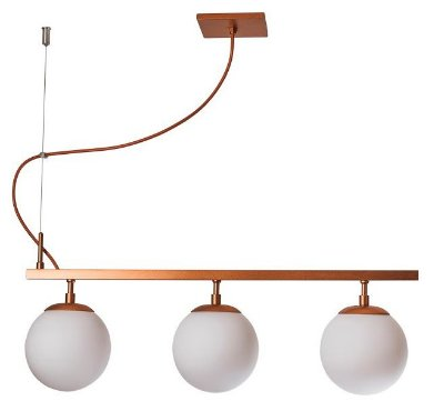PENDENTE QUEENS 16550/3 Usina Iluminação Moderno Haste Triplo C/ GLOBOS Vidro Ø14cm x 14x50x28 x 1m x 3 - E27 - G45