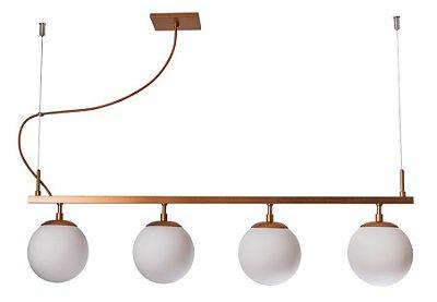 PENDENTE QUEENS 16550/4 Usina Iluminação Moderno Haste 4 GLOBOS Vidro Ø14cm x 14 x 85 x 28 x 1m x 4 - E27 - G45