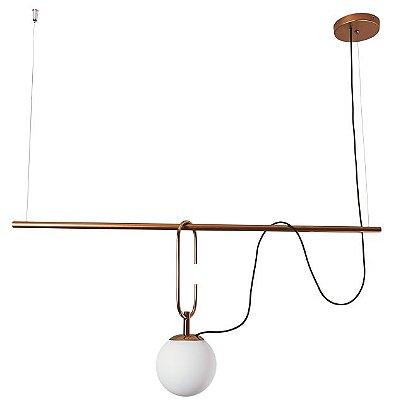 Pendente Usina Iluminação QUIRON 16606/3 GANCHO 23cm HASTE Linear 55cm Moderno Globo de Vidro x 104 x 59 x 40 x 1m x 03 - E27