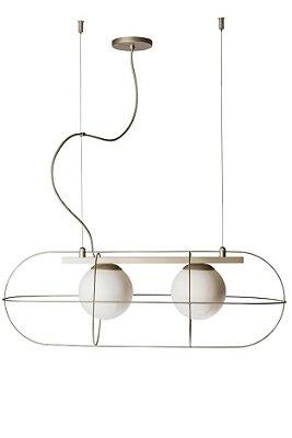 PENDENTE SUBMARINE Usina Iluminação Haste Aramado Moderno GLOBO DE VIDRO Ø14cm x  24 x 71 x 24 x 1m x 2-E27 - G45
