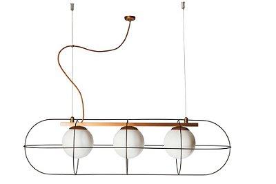 PENDENTE SUBMARINE Usina Iluminação Haste Aramado Moderno GLOBO DE VIDRO Ø14cm x 24 x 91 x 24 x 1m x 3-E27 - G45