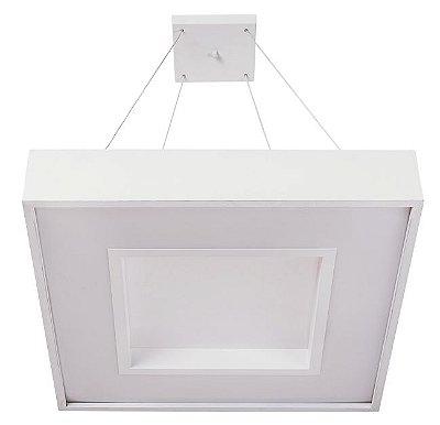 Pendente Usina Iluminação MEG LED Quadrado Difusor ACRÍLICO Ilum. Direta Indireta x 36x36x1m cabo x LED24,4W 3000K/BIVOLT 19031/36 LED3
