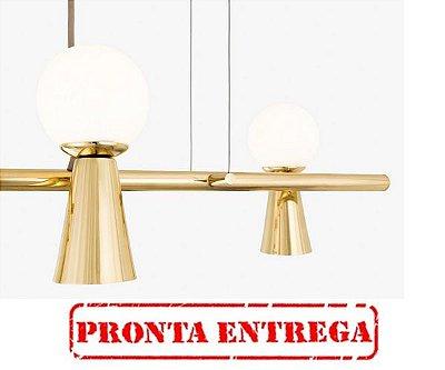 PRONTA ENTREGA / Lustre Golden Art Pendente Golden Art Pivô 5 Contemporãneo Dourado