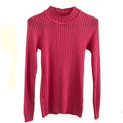 Pure Pleasure - Blusa Tricot Canelada Cacharrel em Pink