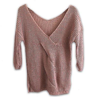 Warm Up The Moment - Blusa Tricot Trançada em Rosa Soft