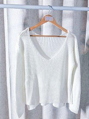Crush On Cozy Decote V - Blusa Tricot em Branco