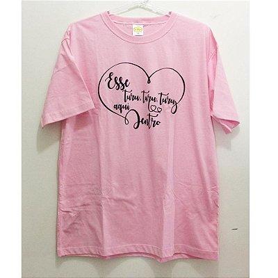 Camiseta M Rosa Sandy e Júnior - Turu Turu coração