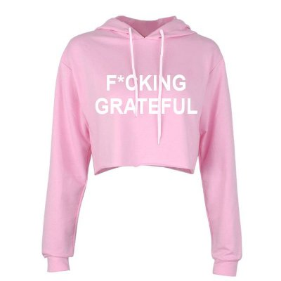 Moletom Cropped Rosa Ariana Grande - FUCKING GRATEFUL