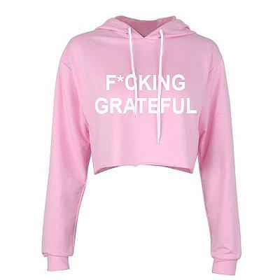 Moletom Cropped Rosa Ariana Grande - FUCKING GRATEFUL