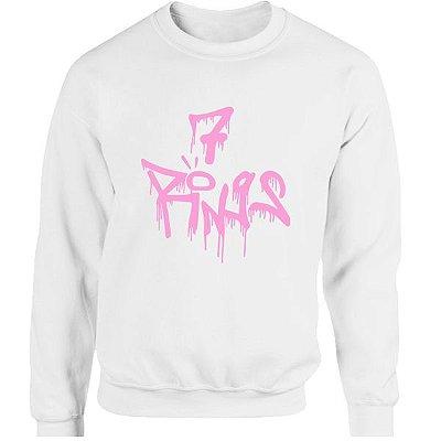 Moletom Ariana Grande -7 Rings - estampa rosa
