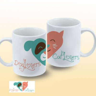 Caneca Lovers Cat and Dog