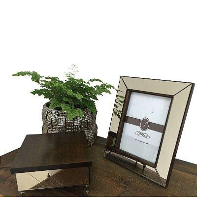 Porta Retrato Espelhado de Madeira 13 x 18 Cm