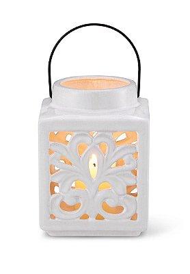 Lanterna Arabesco Branca 18cm