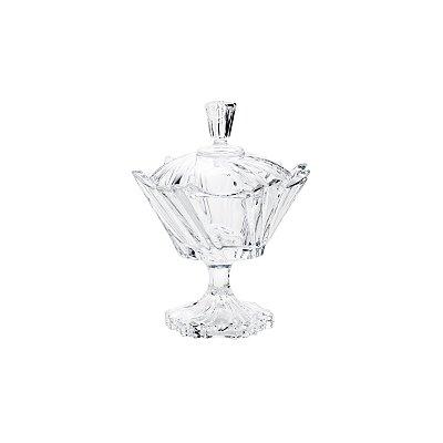Bomboniere de cristal com tampa e pé Ikaro 13x16,5cm