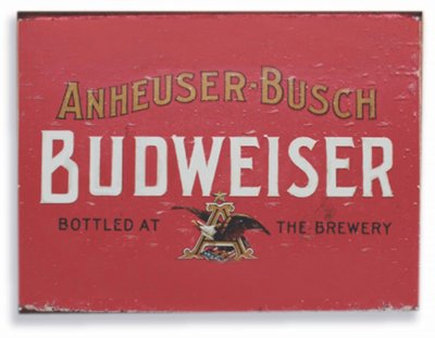 Placa metal Budweiser