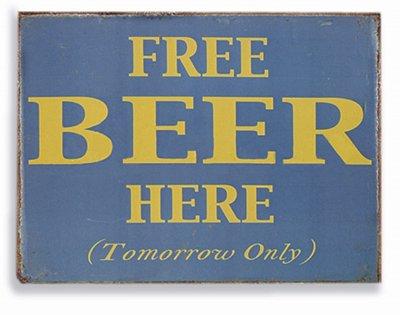 Placa Free Beer Here P