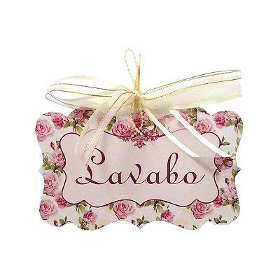 Placa Lavabo Floral Rosa
