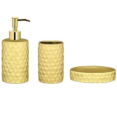 Kit p/ Banheiro Dourado - 3 peças