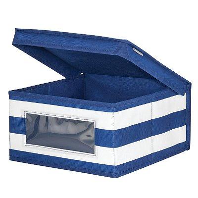 Caixa Organizadora c/ Tampa e visor Azul e Branco