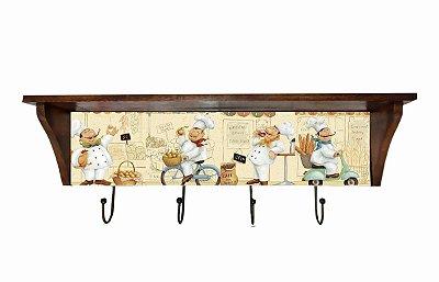 Prateleira Azulejo Cozinheiro - 4 Ganchos