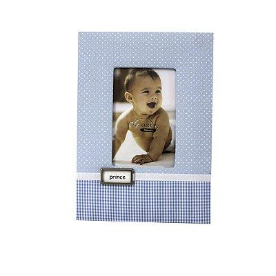 Porta Retrato Tecido Xadrez Azul Prince