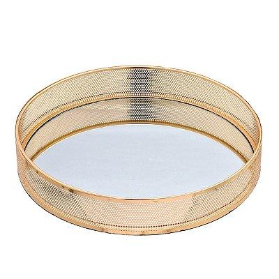 Bandeja Espelhada Decorativa Dourada 30cm