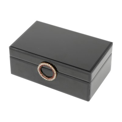 Porta Jóias Preto c/ Puxador Dourado 21cm