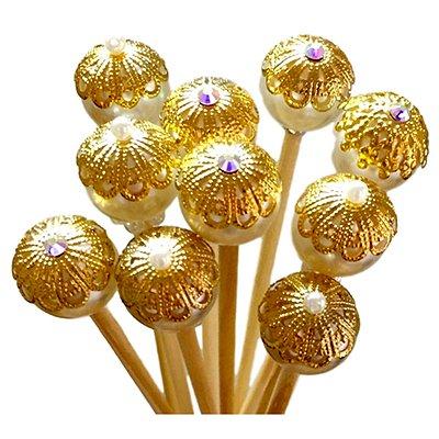 Varetas Decoradas Dourada 25cm - 10 unidades