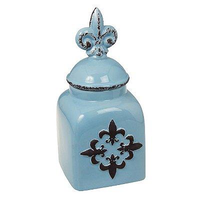 Pote em Cerâmica Flor de Lis Azul