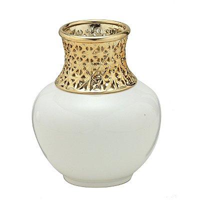 Vaso branco c/ dourado 18,5cm