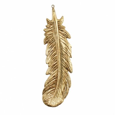 Pena Decorativa Dourada 22,5cm